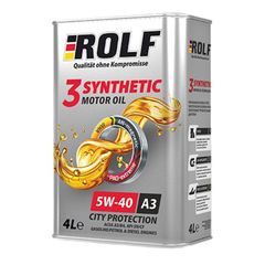 Масло моторное ROLF 3-SYNTHETIC  5W-40 A3/B4 синтетика (4 л.)